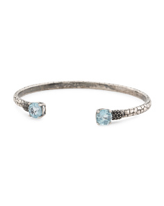 Made In Italy Sterling Silver Blue Topaz Open Cuff Bracelet