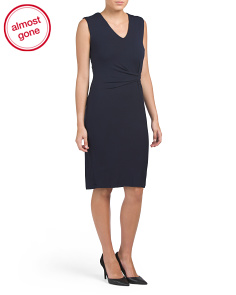 V Neck Jersey Dress With Draped Side