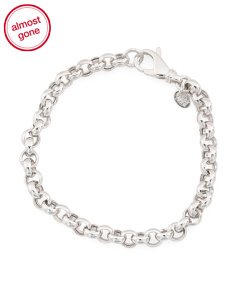 Made In Italy Sterling Silver Galleria Rolo Bracelet