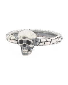 Made In Italy Sterling Silver Textured Skull Ring