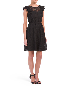 Juniors Ruffle Sleeve Lace Dress