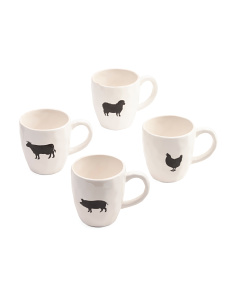 4pc Assorted Farmhouse Mugs