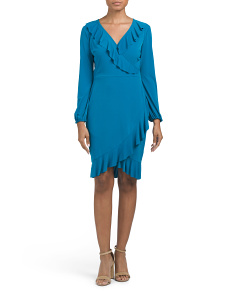 Ruffle Wrap Matte Jersey Dress