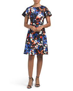 Textured Floral Fit & Flare Dress