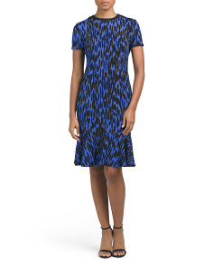 Textured Zig Zag Flounce Hem Dress