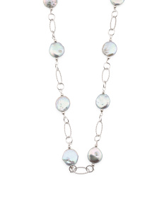 Grey Pearl Station Necklace