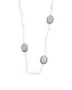 Pearl Amazonite And Crystal Endless Necklace
