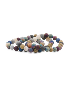 Set Of 3 Matte Multicolor Agate Bracelets