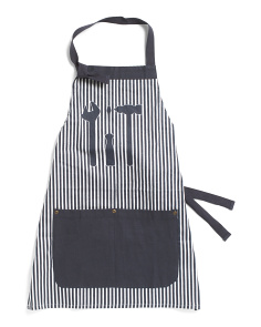 Kids Pocket Apron With Tools And Stripes