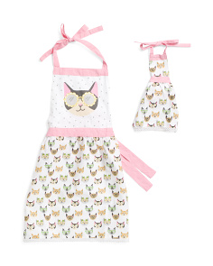 Kids Printed Cats With Sunglasses Apron Set