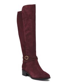 Suede Stretch Back High Shaft Boots