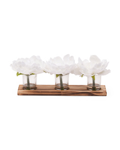 Set Of 3 13in Peonies In Glass On Tray