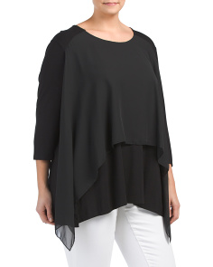 Plus Made In USA Chiffon Overlay Top