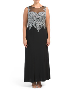 Plus Mesh Embellished Bodice Gown