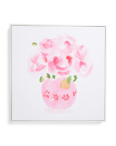 18x18 Pink Floral Canvas Wall Art