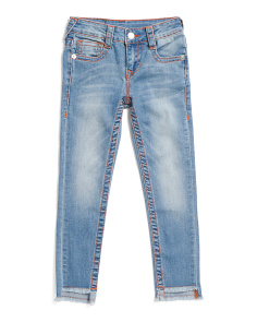 Big Girls Stretch Jeans With Raw Hem