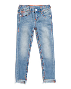 Little Girls Stretch Jeans With Raw Hem