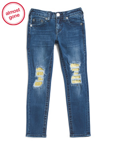 Big Girls Stretch Denim Jeans With Glitter Destruction