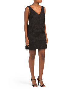 Jacquard Fringe Cocktail Shift Dress