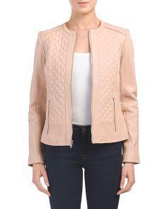 Quilted Leather Zip Front Jacket