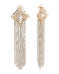 Crystal Gold Tone Fringe Earrings