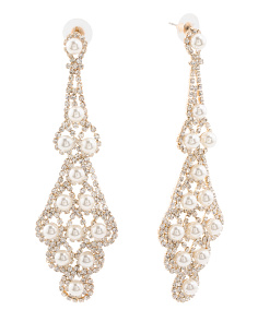 Gold Tone Crystal And Pearl Chandelier Earrings