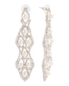 Silver Tone Crystal Chandelier Earrings