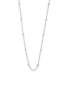 Sterling Silver 18 Inch Satellite Swarovski Accents Chain Necklace
