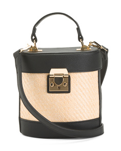 Small Structured Straw Crossbody