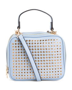 Top Handle Satchel With Studded Front