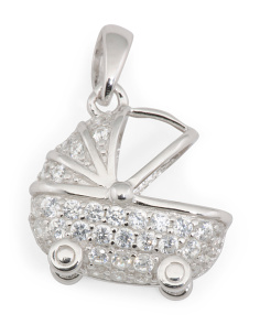 Sterling Silver Pave Cz Bassinet Charm