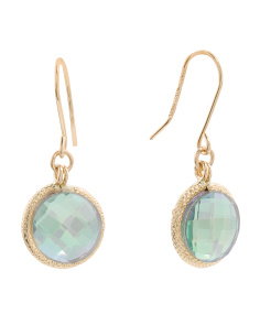 Made In Italy 14k Gold Green Quartz Drop Earrings