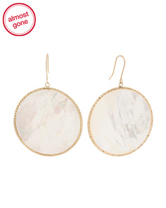 Made In Italy 14k Gold Mother Of Pearl Round Earrings