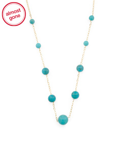 Made In Italy 14k Gold Turquoise Station Necklace
