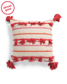 Made In India 16x16 Knotted Dangle Pillow