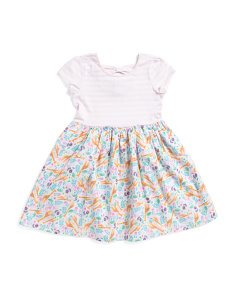Little Girls Giraffe Forest Bow Back Dress