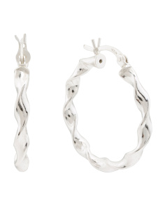 Recycled Sterling Silver 35mm Twist Hoop Earrings