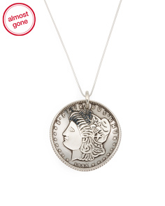 Recycled Sterling Silver Coin Medallion Necklace