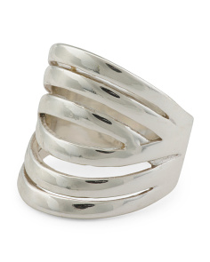 Recycled Sterling Silver Mixed Texture Highway Ring