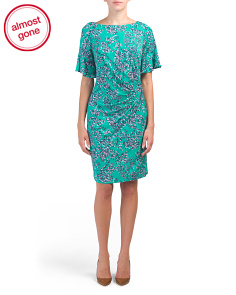 Ruched Floral Jersey Dress