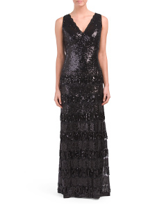 V-neck Sequin Fringe Gown