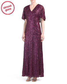 Short Sleeve V-neck Sequin Gown