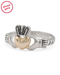Sterling Silver And Gold Plated Claddagh Ring