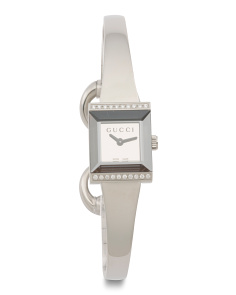 Women's Swiss Made Diamond Accent G Frame Bangle Watch