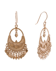 Handmade In Thailand Rose Gold Plated Brass Lotus Petal Earrings