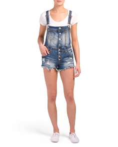 Juniors Dark Wash Button Up Shortalls