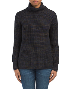 Tweed Turtleneck Tunic Sweater