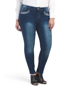 Plus Bella Ankle Jeans With Pearl Trim