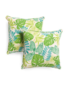 18x18 2pk Indoor Outdoor Leaves Pillows