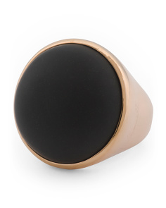 Made In Italy Bronze Onyx Round Ring